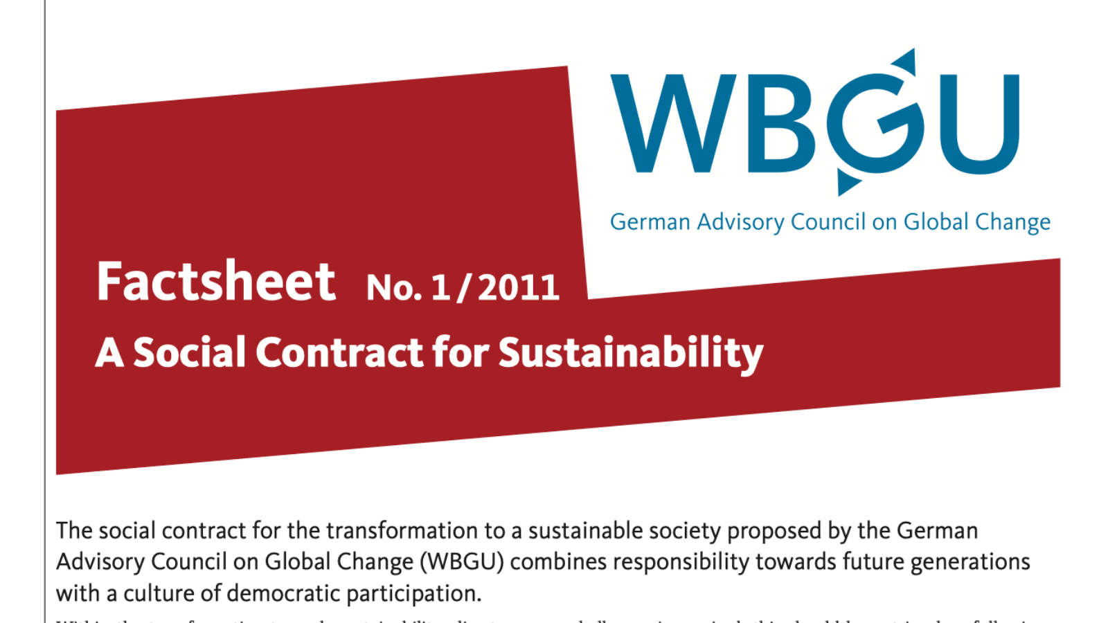Factsheet: A Social Contract for Sustainability