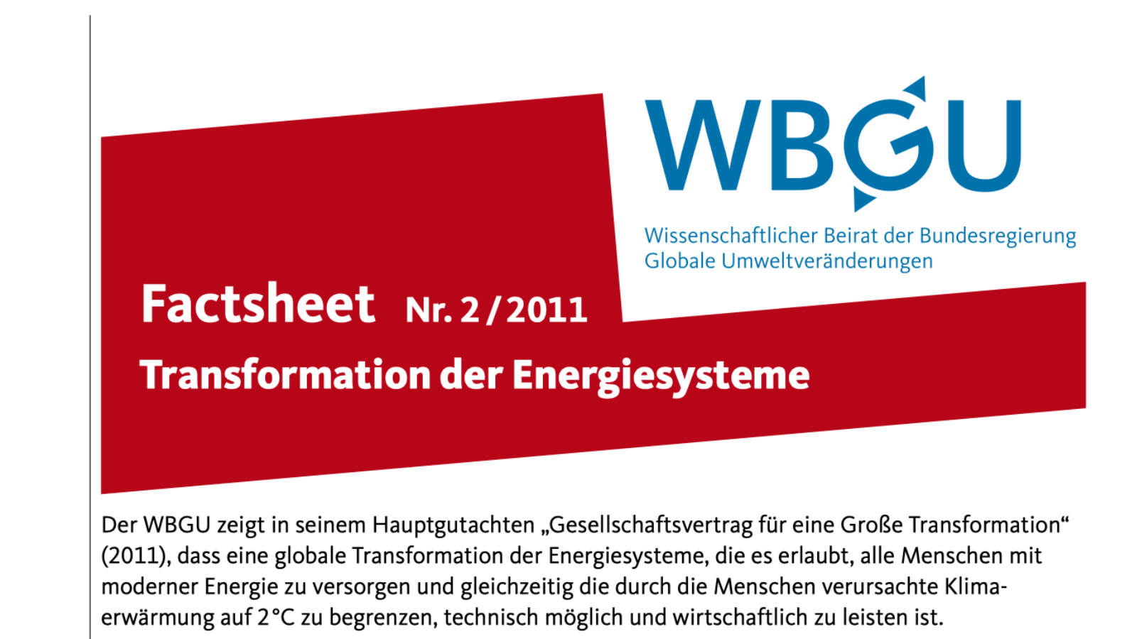 Factsheet: Transformation der Energiesysteme