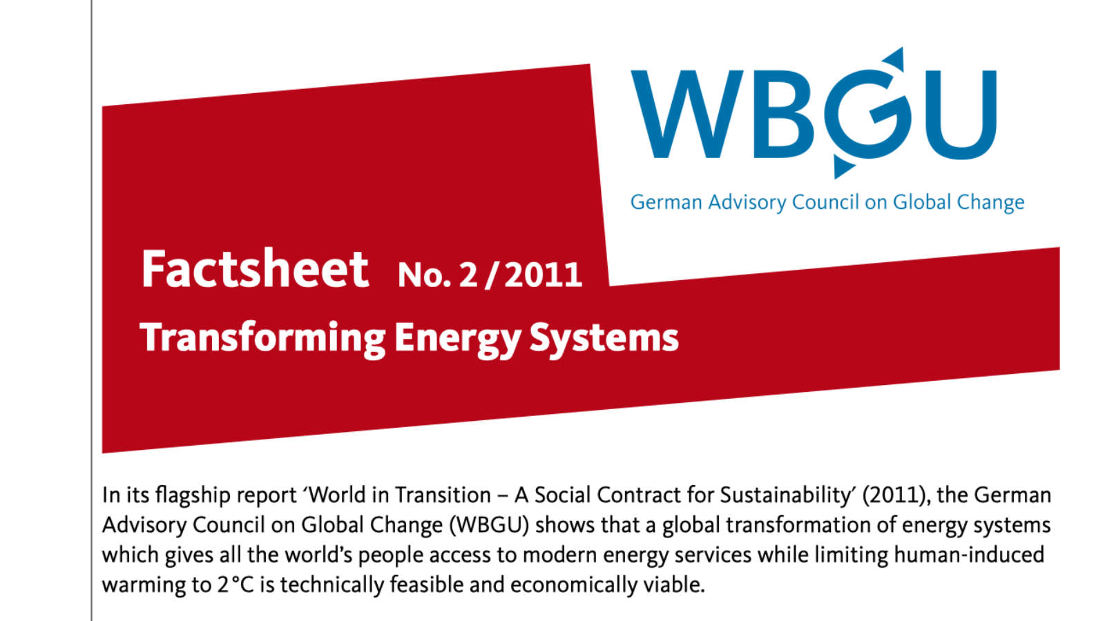 Factsheet: Transforming Energy Systems