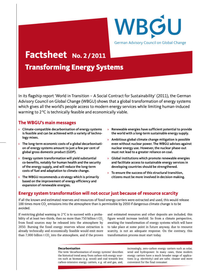 Cover: Transformation der Energiesysteme