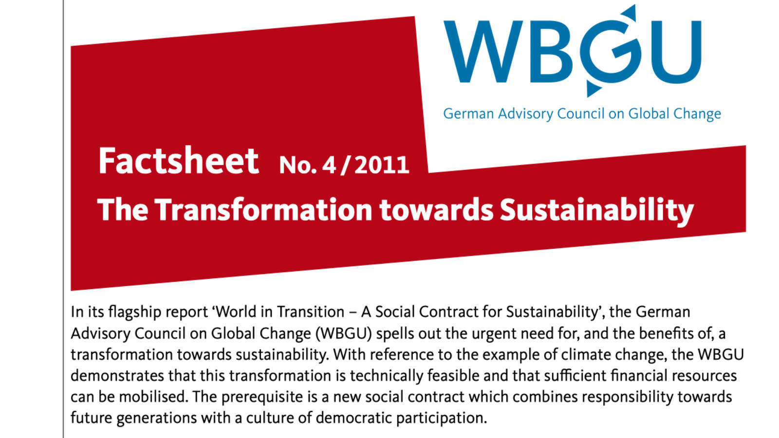 Factsheet: The Transformation towards Sustainability