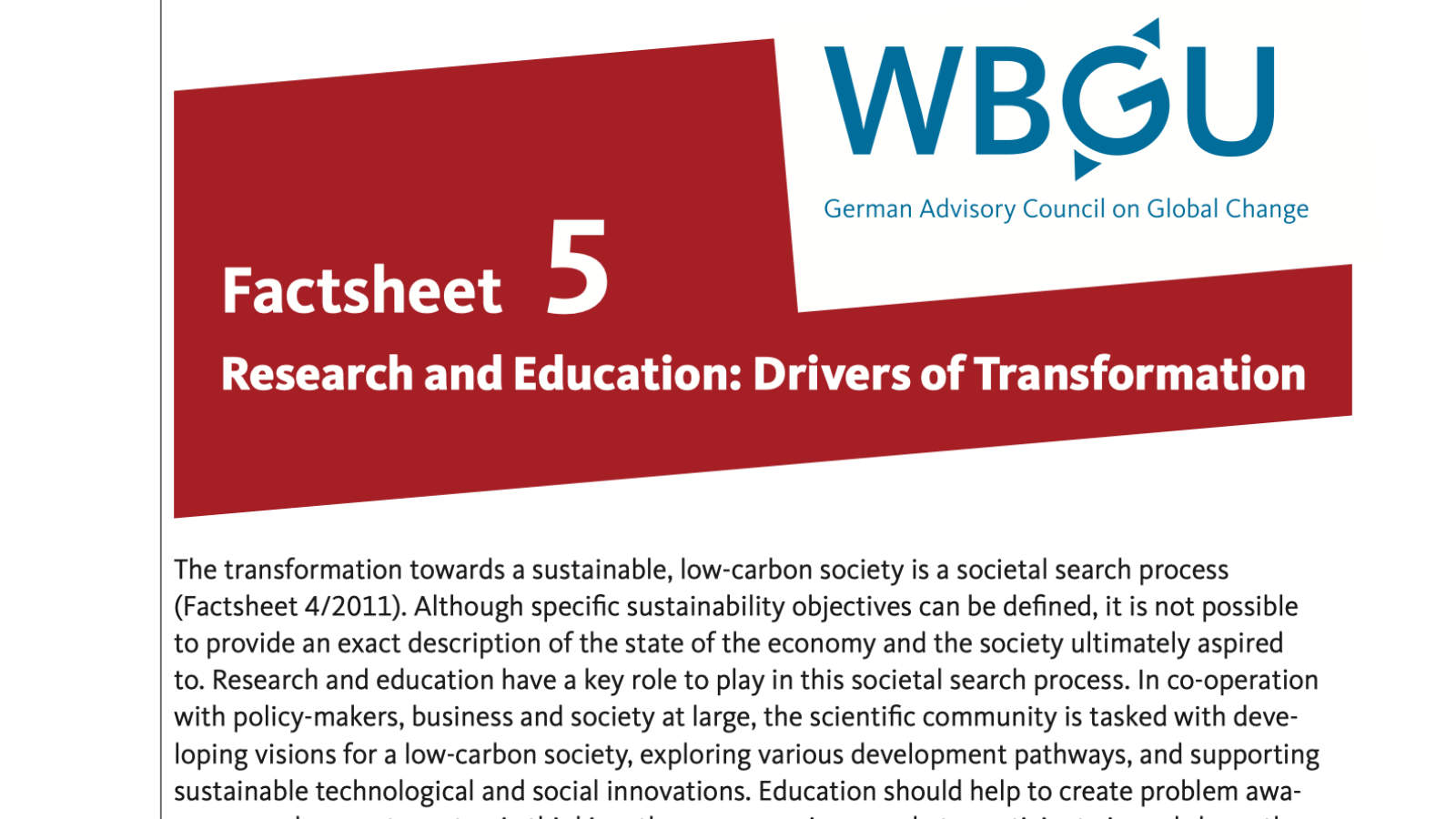 Factsheet: Research and Education - Drivers of Transformation