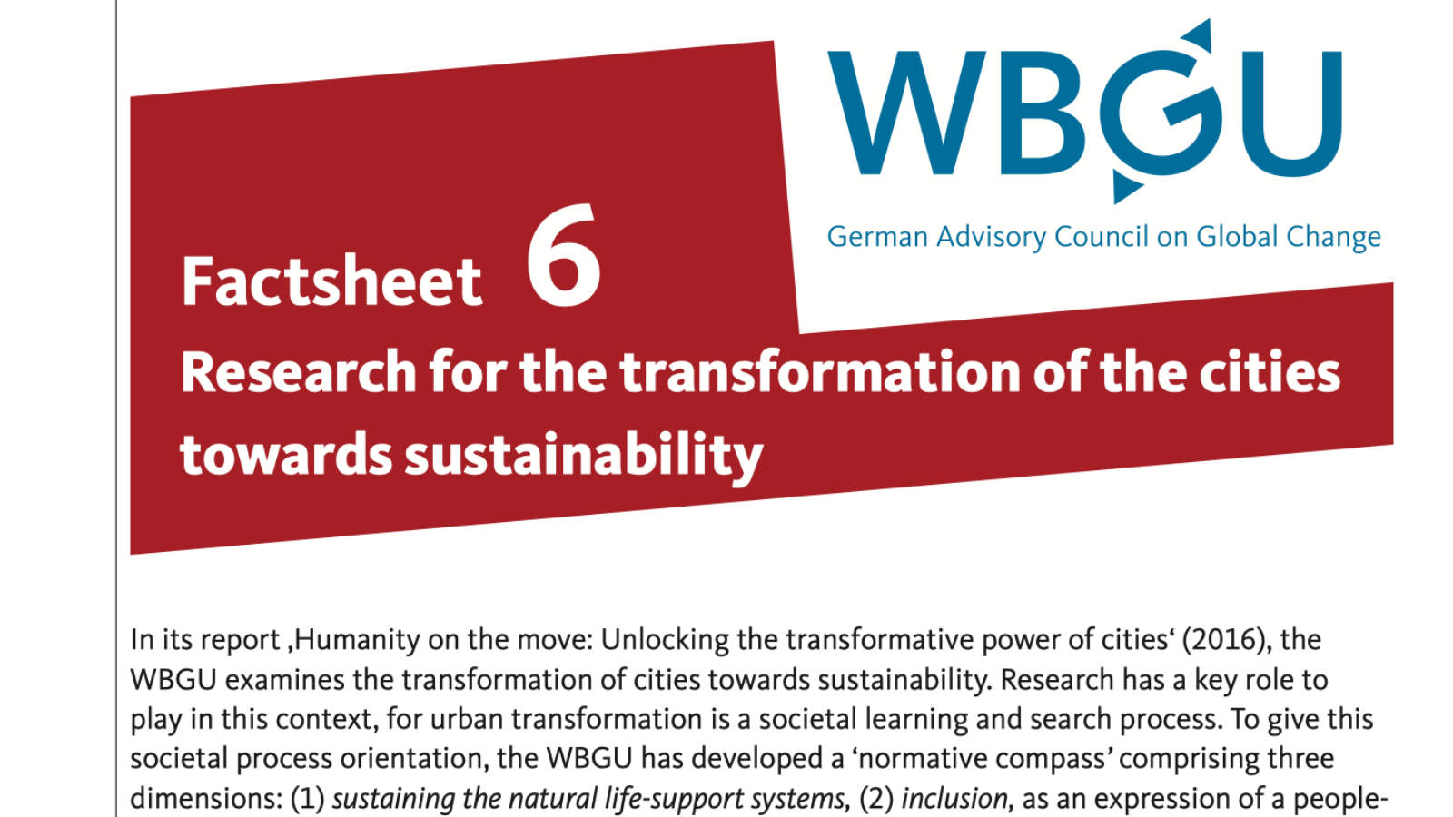 Factsheet: Research for the transformation of the cities towards sustainability